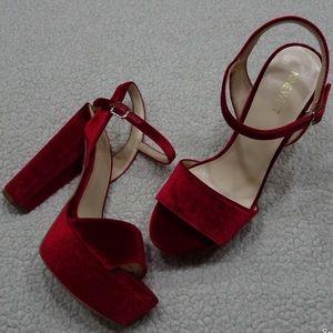 305a7d50c86b4 Nine West Shoes   New Red Velvet Platform Heel Sandal Sz 8   Poshmark